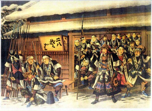 「赤穂四十七士」(1703年1月30日)深夜に旧主浅野長矩の仇である高家吉良義央の屋敷に討ち入り、吉良義央および家人を殺害した.