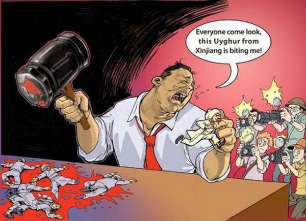 新疆ウイグル自治区.....中国語=「解放者」, 国際語=「迫害者」