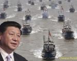 中国海賊の親分とかれの海軍の艦隊によって保護されていたの漁船,