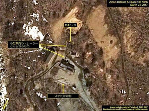核実験場では、新たな車両の動きが確認された 24日に撮影された北朝鮮・豊渓里にある核実験場の衛星写真(エアバス・ディフェンス・アンド・スペース/38ノース提供・共同)