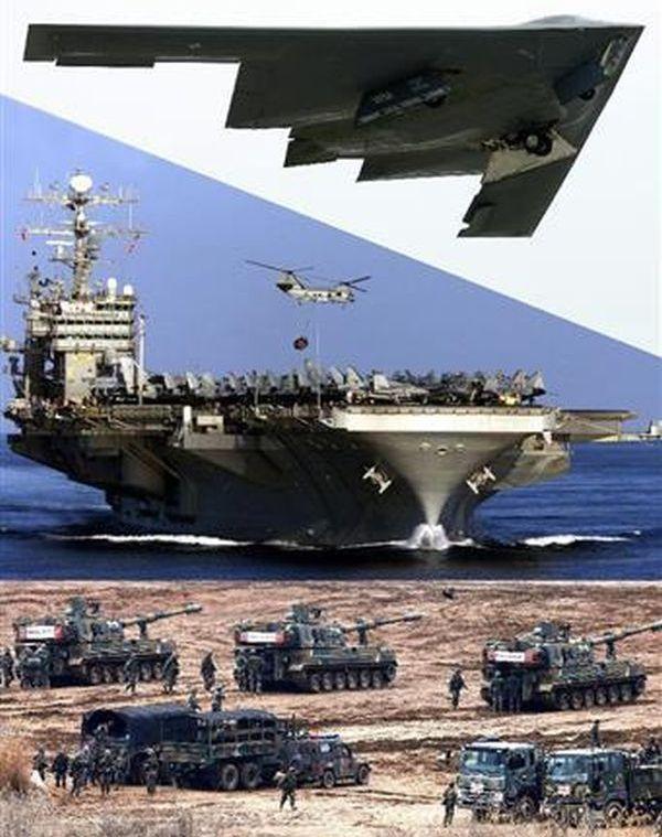 米韓合同軍事演習に参加するとみられる(上から)ステルス爆撃機B2と、米原子力空母「カール・ビンソン」、韓国軍の自走砲。金正恩氏は挑発に出るのか(米軍提供、ロイター、共同)