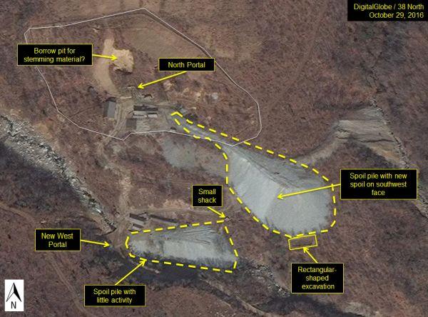 今月2日に北朝鮮北東部・豊渓里の核実験場を撮影した衛星写真