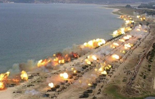 北朝鮮過去最大規模の砲撃訓練