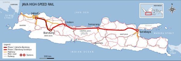 インドネシアジャワ島の高速鉄道計画
