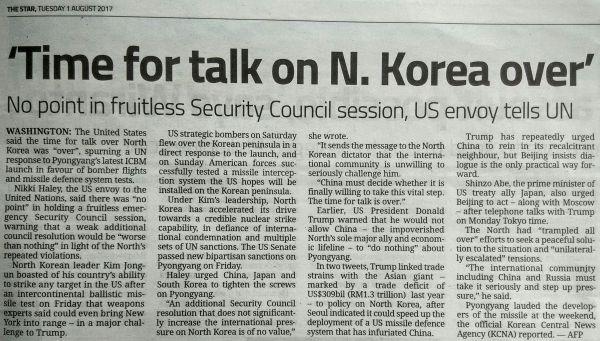 トランプ大統領 :『もう限界だ ! 時間無駄, 無用の国連安保理緊急会議 !!! これから一切北朝鮮との対話をやめてくれ !!! 』