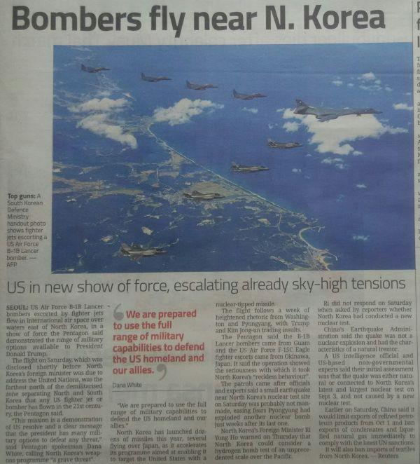2000年以降で南北の非武装地帯の最も北を飛行したと !!!!