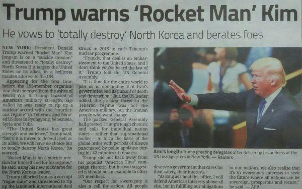 トランプ大統領が「ロケットマン」への警告 :『必ず...「『北』を完全に破壊」 !』