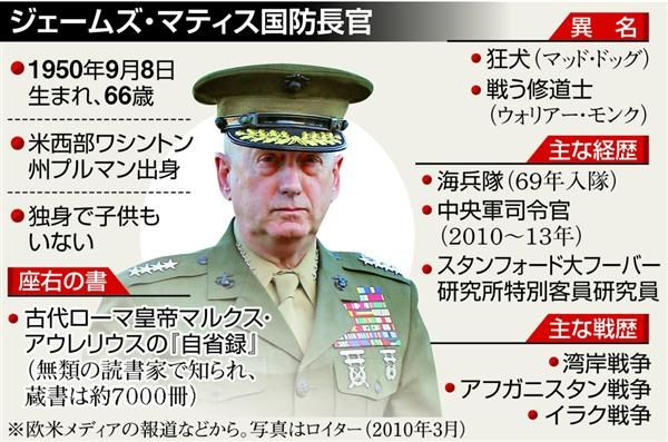 アメリカ「マッド・ドッグ(狂犬)」の異名を持つのマティス国防長官 :『「北」との戦争計画ある !!!』