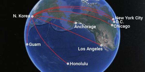 米本土に届くの大陸間弾道ミサイル(ICBM)