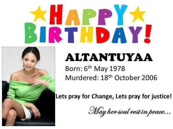 「億万長者」首相の愛人, 殺されたのアルタントゥヤさん, お誕生日おめでとうございます !